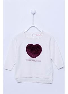 Silversun Kids Kalp Baskılı Uzun Kollu Bebek Kız Triko Kazak T-113153